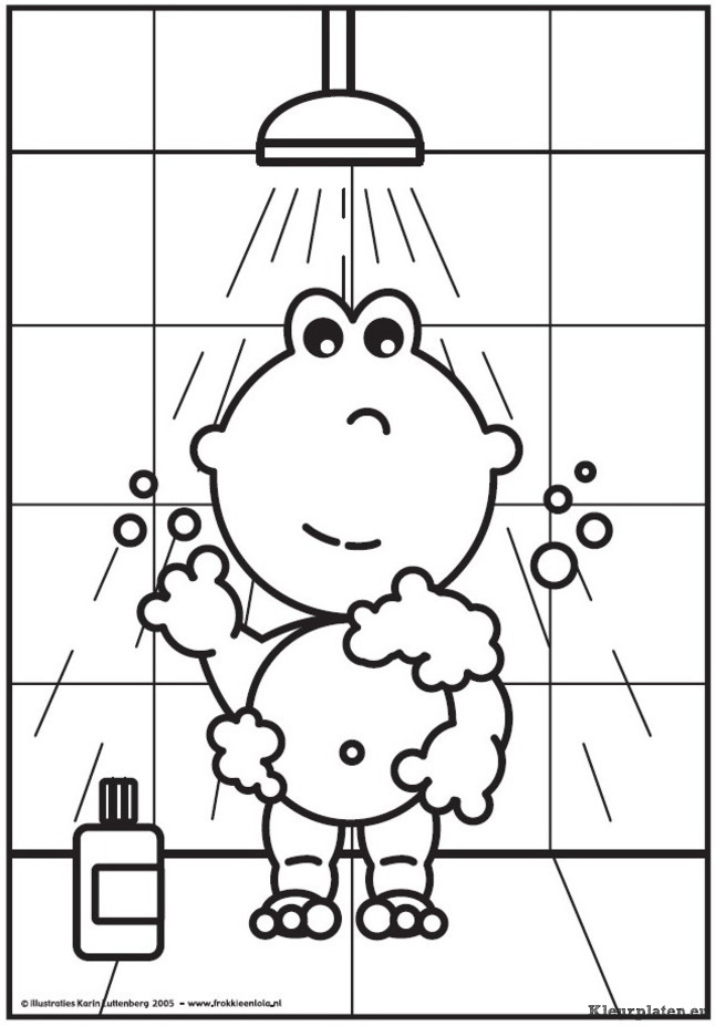 Taking A Bath Coloring Pages