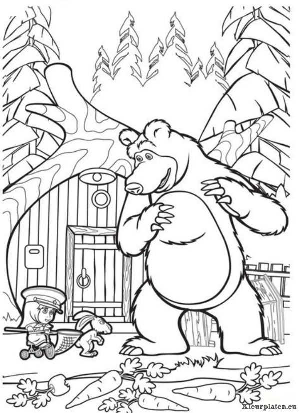 Free coloring pages of marsha and the bear
